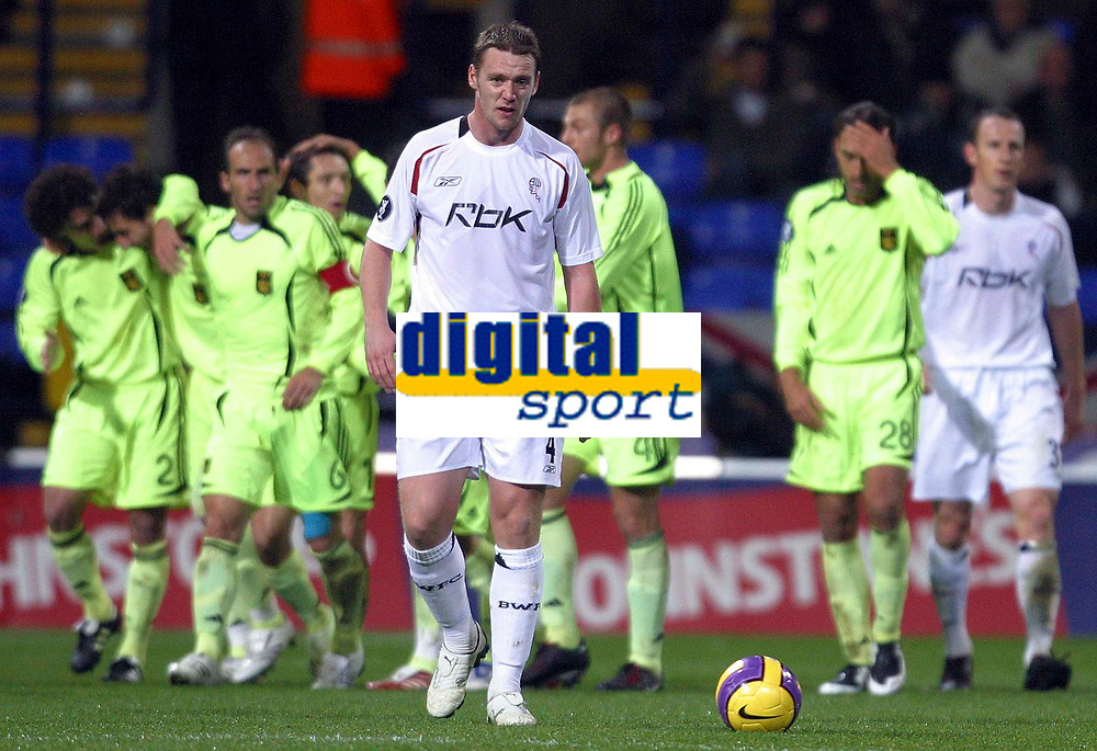 Photo: Paul Thomas/Sportsbeat Images.<br /> Bolton Wanderers v Aris Salonica. UEFA Cup. 29/11/2007.<br /> <br /> Kevin Nolan (White) of Bolton shows his dejection as Aris Salonica celebrate their first goal.