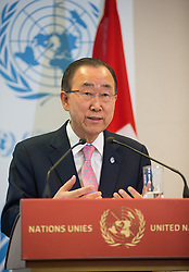 United Nations Secretary-General Ban Ki-moon addresses the media after attending the Geneva Conference on Preventing Violent Extremism in Geneva, Switzerland, April 8, 2016. United Nations Secretary-General Ban Ki-moon said Friday that a paradigm shift is needed to address violent extremism affecting communities across the globe. EXPA Pictures © 2016, PhotoCredit: EXPA/ Photoshot/ Xu Jinquan<br /> <br /> *****ATTENTION - for AUT, SLO, CRO, SRB, BIH, MAZ, SUI only*****