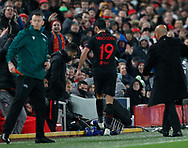 Diego Costa of Atletico Madrid kicks the drinks container as he is substituted  during the UEFA Champions League match at Anfield, Liverpool. Picture date: 11th March 2020. Picture credit should read: Darren Staples/Sportimage