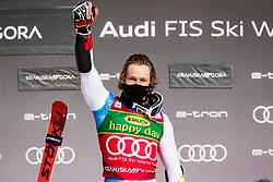 Mario Odermatt (SUI) during trophy ceremony the Audi FIS Alpine Ski World Cup Men's Giant Slalom at 60th Vitranc Cup 2021 on March 13, 2021 in Podkoren, Kranjska Gora, Slovenia Photo by Grega Valancic / Sportida