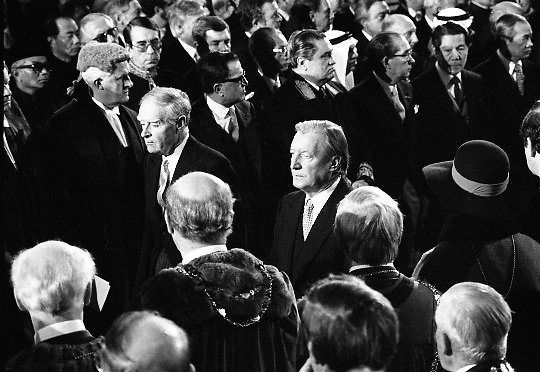 Inaugeration of President Hillery..1983.03.12.1983.12.03.1983.3rd December 1983...Dignitaries from home and abroad attended the Inaugeration of Patrick Hillery, as president of Ireland. the ceremony took place at St Patrick's Hall,Dublin Castle...Image of old rivals Mr Liam Cosgrave and Mr Charles Haughey leaving St Patrick's Hall,Dublin Castle.