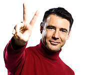 caucasian man  peace sign  gesture studio portrait on isolated white backgound