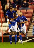 Photo. Jed Wee.<br /> Sunderland v Ipswich Town, Nationwide League Division One, Stadium of Light, Sunderland. 30/09/2003.<br /> Ipswich's Pablo Counago jumps on the shoulders of goalscorer Darren Bent.