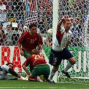 USA's John O'Brien celebrates scoring against Portugal