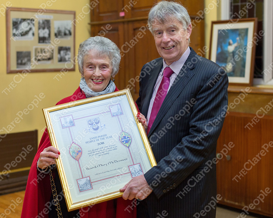 Sean and Mary McDermott with their Ennis Parish People of the Year Award for 2018