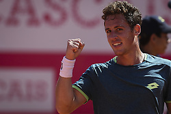 May 3, 2018 - Estoril, Portugal - Roberto Carballes Baena of Spain celebrates his victory over Cameron Norrie of Great Britan during the Millennium Estoril Open ATP 250 tennis tournament, at the Clube de Tenis do Estoril in Estoril, Portugal on May 3, 2018. (Credit Image: © Carlos Costa/NurPhoto via ZUMA Press)