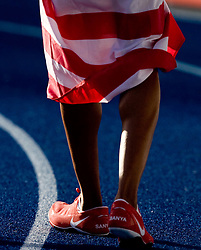 Shoes of Sanya Richards of the United States when she celebrates winning the gold medal in the women's 4x400 Metres Relay Finalduring day nine of the 12th IAAF World Athletics Championships at the Olympic Stadium on August 23, 2009 in Berlin, Germany. (Photo by Vid Ponikvar / Sportida)