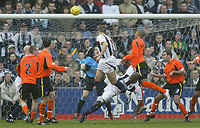 Sportsbeat Images<br />West Bromwich Albion v Cardiff<br />Saturday 14th February 2004<br />WBA V CARDIFF CITY<br />WBA'S NEIL CLEMENT HEADS OPENING GOAL