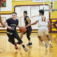 Antonio Garcia (12) of Miyamura drives near the sideline opening up space for the a potential pass. The Patriots won 68-44 in Tohatchi on Thursday.