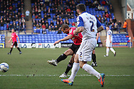 Oldham Athletic's James Wesolowski shoots and scores his teams 1st goal of the game. Skybet football league 1match, Tranmere Rovers v Oldham Athletic at Prenton Park in Birkenhead, England on Saturday 1st March 2014.<br /> pic by Chris Stading, Andrew Orchard sports photography.