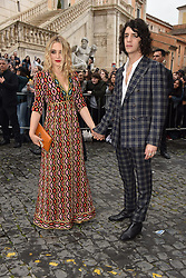 Rome, Piazza Del Campidoglio Event Gucci Parade at the Capitoline Museums, In the picture: Carolina Crescentini Francesco Motta