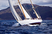Peter von Seestermuhe sailing in the Windward Race at the Antigua Classic Yacht Regatta.