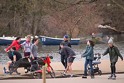 © Licensed to London News Pictures.20/02/2021. London, UK. Members of the public walking or exercising in Hyde Park central London. The weather forecasts predict it will be the warmest weekend since November. The weather forecasts predict that it will be the warmest weekend since November.  Photo credit: Marcin Nowak/LNP