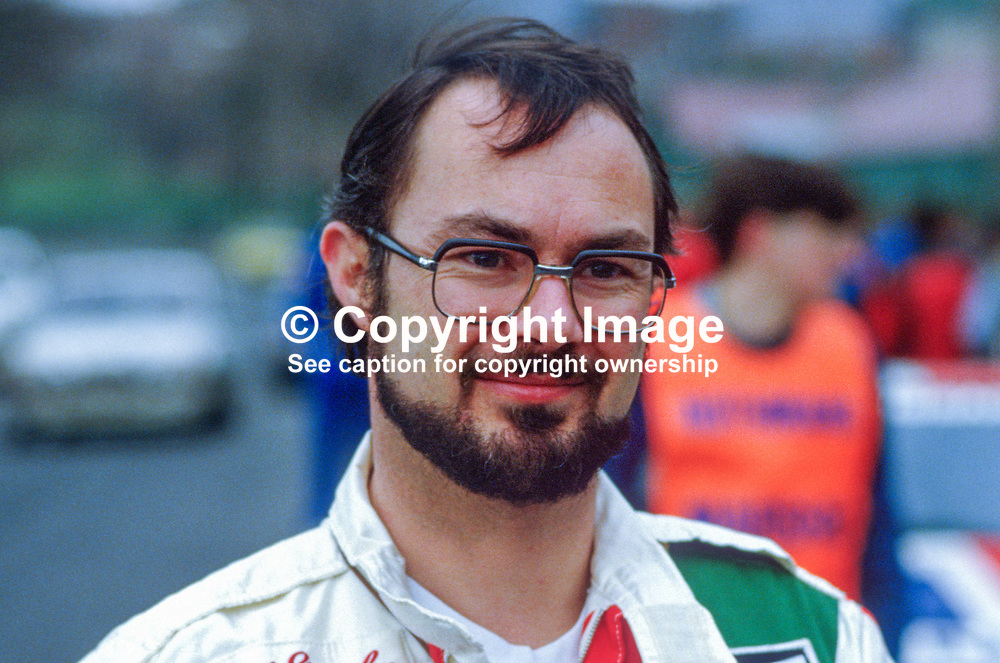 Kevin Gormley, rally driver, England, UK, 19850403KG.<br /> <br /> Copyright Image from Victor Patterson, Belfast, UK<br /> <br /> t: +44 28 9066 1296 (from Rep of Ireland 048 9066 1296)<br /> m: +44 7802 353836<br /> e: victorpattersonbelfast@gmail.com<br /> <br /> www.images4media.com<br /> <br /> Please see my full Terms and Conditions of Use at https://www.images4media.com/p/terms-conditions - it is IMPORTANT that you familiarise yourself with them.<br /> <br /> Images used online incur an additional cost. This cost should be agreed in writing in advance. Online images must be visibly watermarked i.e. © Victor Patterson or that of the named photographer within the body of the image. The original metadata must not be deleted from images used online.<br /> <br /> This image is only available for the use of the download recipient i.e. television station, newspaper, magazine, book publisher, etc, and must not be passed on to a third party. It is also downloaded on condition that each and every usage is notified within 7 days to victorpattersonbelfast@gmail.com.<br /> <br /> The right of Victor Patterson (or the named photographer) to be identified as the author is asserted in accordance with The Copyright Designs And Patents Act (1988). All moral rights are asserted.