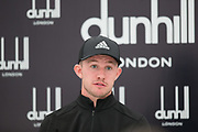 4th October 2017, The Old Course, St Andrews, Scotland; Alfred Dunhill Links Championship, practice round; Connor Syme of Scotland speaks to the media after a practice round on the Old Course, St Andrews before the Alfred Dunhill Links Championship
