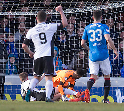 Ayr United's Alan Forrest (left) scores his side's first goal of the game during the William Hill Scottish Cup, fifth round match at Somerset Park, Ayr.