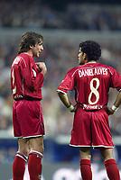 4/2/2004 Madrid, Spain.<br />Copa Del Rey (Spanish Cup) Semifinals. 1 Leg.<br />R.Madrid 2 - Sevilla 0<br />Sevilla's defenders Javi Navarro (L) and Daniel Alves (R) at Santiago Bernabeu's Stadium.