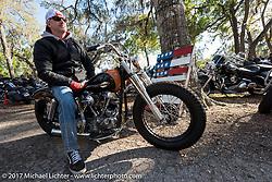 Bo Hatzoge on an Eric Stein built 1974 custom Harley-Davidson Shovelhead at the Cycle Source Magazine show at the Broken Spoke Saloon during Daytona Beach Bike Week. FL. USA. Tuesday, March 14, 2017. Photography ©2017 Michael Lichter.
