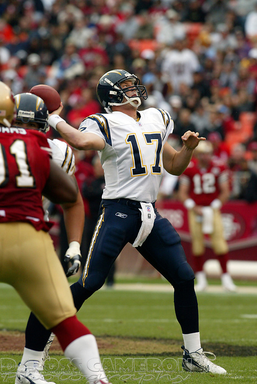 San Diego Chargers quarterback Philip Rivers looses a touchdown pass against the San Francisco 49ers during the second quarter of an NFL football game, Sunday, Oct. 15, 2006 at Candlestick Park in San Francisco. The Chargers won, 48-19. (D. Ross Cameron/The Oakland Tribune)