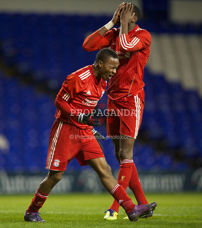 LONDON, ENGLAND - Wednesday, February 1, 2012: Liverpool's Raheem Sterling and Michael Ngoo look dejected after missing a chance against Tottenham Hotspur during the NextGen Series Quarter-Final match at White Hart Lane. (Pic by David Rawcliffe/Propaganda)