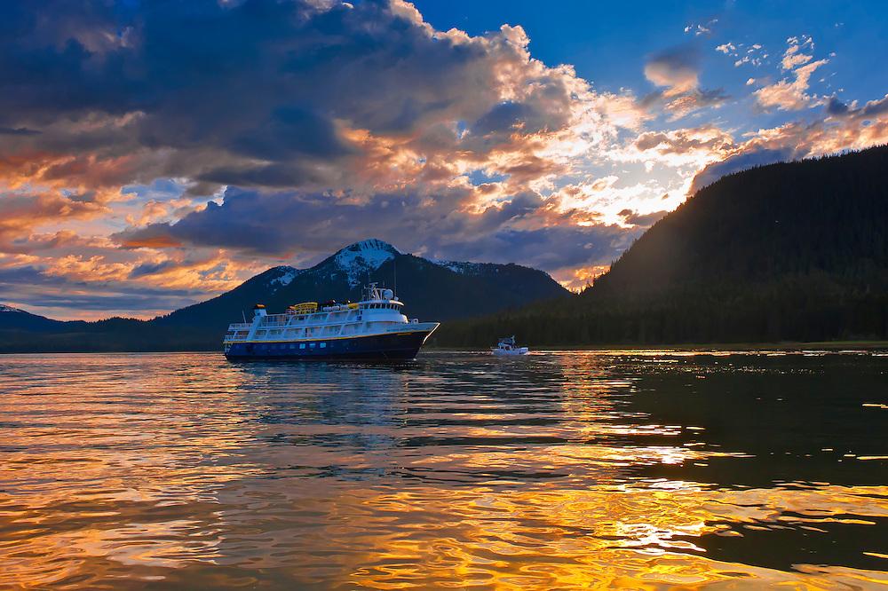 National Geographic Sea Bird (Lindblad Expeditions small cruise ship), Wrangell Narrows on the Inside Passage, Petersburg, Southeast Alaska USA