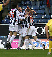 Photo: Mark Stephenson.<br />West Bromwich Albion v Southampton. Coca Cola Championship. 10/02/2007. West Brom celebrate their goal