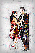 Digitally enhanced image of a Couple dances tango