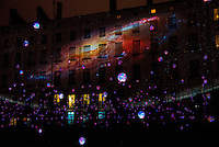 LYON, FRANCE - DECEMBER 04: For four nights over 70 light installations will create a magical atmosphere in the streets, squares and parks all over the city and millions of visitors both French and from abroad will enjoy the friendly and joyful spirit of this unique event on December 4, 2014 in Lyon, France. (Photo by Bruno Vigneron/Getty Images)Laniakea<br /> Place Antonin Poncet , Lyon 2<br /> Artists: Simon Milleret-Godet & Jérôme Donna<br /> Dive into the depths of a cosmic experience and confront light particles that scintillate by the thousands in the dark. Observe this hypnotic ballet of clouds, clusters of lighted dots and stars that, just like a galaxy, shape themselves into constellation and then disintegrate.<br /> Opening hoursFriday 5th and Saturday 6th: from 6 p.m to 1 a.mSunday 7th: from 5:30 p.m to midnightMonday 8th: from 6 p.m to midnight<br /> Metro Line A/D - Bellecour stop