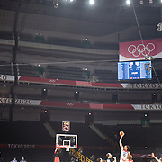 TOKYO, JAPAN  July/August: Photo Essay by Tim Clayton<br /> <br /> Basketball. Tip off. USA V JAPAN. Women's Final. Saitama Super Arena. 5/16<br /> <br /> If the athletes are the heart of any sporting event, the soul are the spectators.Sadly, due to covid 19 restrictions spectators were banned from viewing live what has now become 'the greatest sporting show on earth' The Olympic Games. The cavernous stadiums, many of exceptional quality were left to the whispers of Olympic triumphs past, spirits and history breezing through the empty stands in an attempt to muster up a trace of emotion. The athletes performed, it was no dress rehearsal, but a calling from within to follow that Olympic spirit of faster, higher, stronger and challenge themselves on the ultimate world stage, without the support of their soul mate, the fan.The Olympic Games Tokyo 2020 were like no other… Tokyo, Japan. July August 2021 (Photo by Tim Clayton/Corbis via Getty Images)