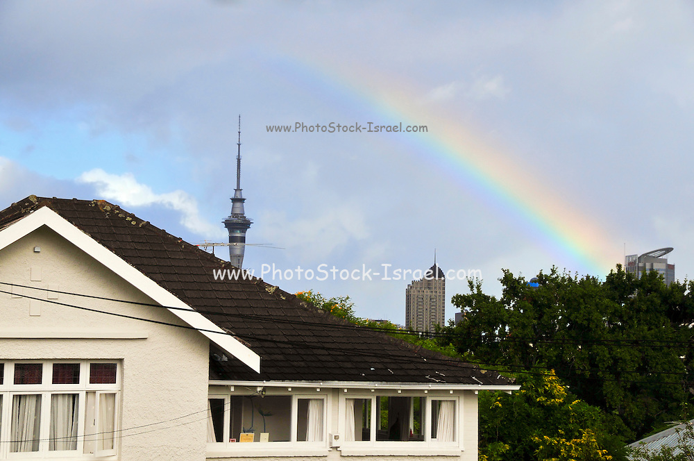 New Zealand, North Island, Auckland Rainbow Sky tower in the background