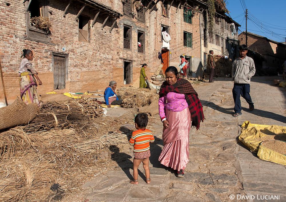 A main street in Khokana, a village set in Kathmandu Valley.