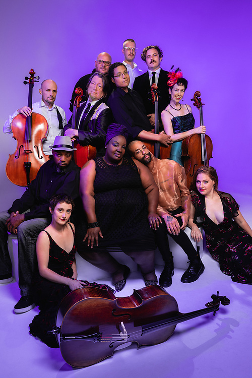 """Portland Cello Project portrait for """"Purple Reign"""" shows, September 2019. Photo by Jason Quigley."""