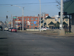 E 7th Street, Old US Route 66, in Joplin MO. Shot through the windsheild while drive down the road.