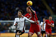 Tom Lawrence of Rotherham (left) tussles with Sean Morrison of Cardiff.. Skybet football league championship match, Cardiff city v Rotherham Utd at the Cardiff city stadium in Cardiff, South Wales on Saturday 6th December 2014<br /> pic by Mark Hawkins, Andrew Orchard sports photography.