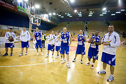 Players of Helios with a cup for second place at third finals basketball match of Slovenian Men UPC League between KK Union Olimpija and KK Helios Domzale, on June 2, 2009, in Arena Tivoli, Ljubljana, Slovenia. Union Olimpija won 69:58 and became Slovenian National Champion for the season 2008/2009. (Photo by Vid Ponikvar / Sportida)