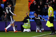 Willian of Chelsea celebrates after scoring his sides 2nd goal with Diego Costa of Chelsea (l). Barclays Premier League match, Crystal Palace v Chelsea at Selhurst Park in London on Sunday 3rd Jan 2016. pic by John Patrick Fletcher, Andrew Orchard sports photography.