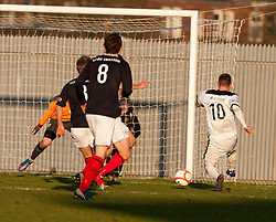 Dumbarton's Bryan Prunty has a shot..Dumbarton 0 v 2 Falkirk, 23/2/2013..©Michael Schofield.