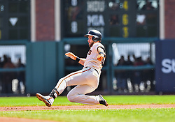 April 8, 2018 - San Francisco, California, U.S. - SAN FRANCISCO, CA - APRIL 08: San Francisco Giants Third base Evan Longoria (10) slides into second base during a regular season game between the Los Angeles Dodgers and San Francisco Giants on April 8, 2018, at AT&T Park in San Francisco, CA. (Photo by Stephen Hopson/Icon Sportswire) (Credit Image: © Stephen Hopson/Icon SMI via ZUMA Press)