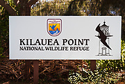 Entrance sign at Kilauea Point, Kilauea National Wildlife Refuge, Island of Kauai, Hawaii USA