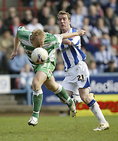 Photo: Aidan Ellis.<br /> Huddersfield Town v Yeovil Town. Coca Cola League 1. 29/04/2006.<br /> Yeovil's Paul Terry beats Huddersfield's David graham