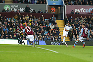 A shot from Leicester city's Riyad Mahrez (26) hits the arm of Aly Cissokho of Aston Villa (43) and a penalty is awarded.Barclays Premier league match, Aston Villa v Leicester city at Villa Park in Birmingham, The Midlands on Saturday 16th January 2016.<br /> pic by Andrew Orchard, Andrew Orchard sports photography.