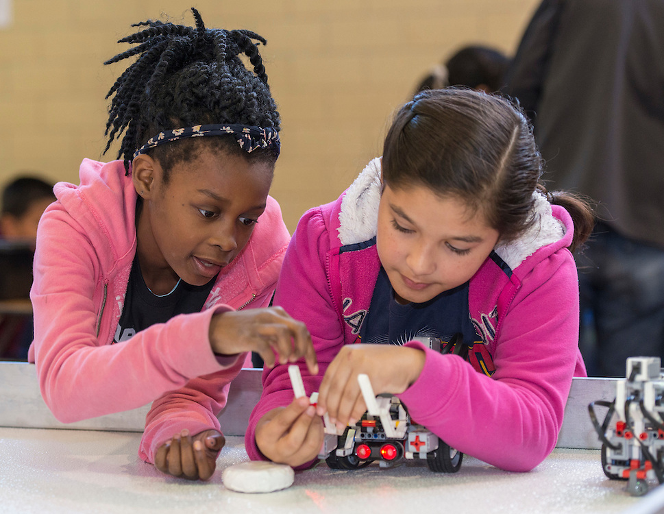 """Houston ISD students participate in the """"Games Robots Play"""" competition at Lamar High School, April 2, 2016."""