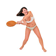 Young woman in a bikini plays racquetball
