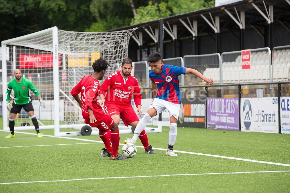 London Turkish All-Stars Vs Tibet during the Conifa Paddy Power World Football Cup Placement Match A on the 5th June 2018 at Bromley in the United Kingdom. London Turkish All-Stars 4 Tibet 0. Tibet  were due to play Ellan Vannin, although Ellan Vannin were withdrawn by CONIFA. Ellan Vannin's withdrawal comes following a vote of the tournament management committee on Monday 4 June, which rejected a challenge by Ellan Vannin to the eligibility of a Barawa player. The CONIFA World Football Cup is an international football tournament organised by CONIFA, an umbrella association for states, minorities, stateless peoples and regions unaffiliated with FIFA.