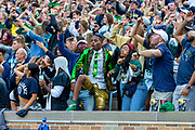 September 28, 2019:  Notre Dame student Brandon Hardy cheers on his team during NCAA football game action between the Virginia Cavaliers and the Notre Dame Fighting Irish at Notre Dame Stadium in South Bend, Indiana.  Notre Dame defeated Virginia 35-20.