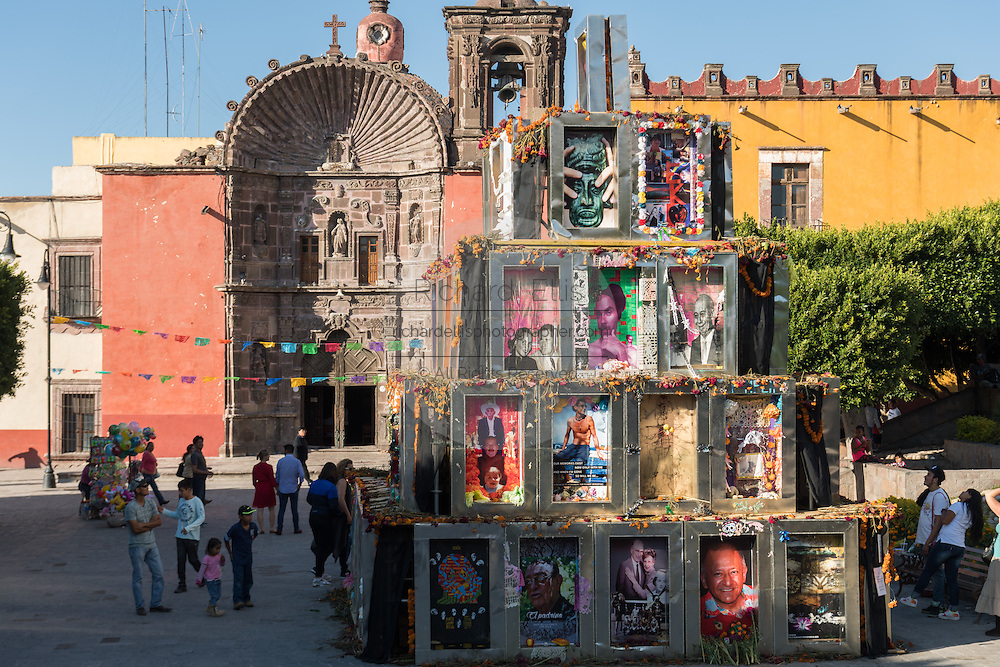 The Pyramid of the Dead by Chilean Artist Tomas Burkey in front of the Church of Our Lady of Health or Nuestra Señora de la Salud Church as part of the Dead of the Dead celebrations in San Miguel de Allende, Guanajuato, Mexico.