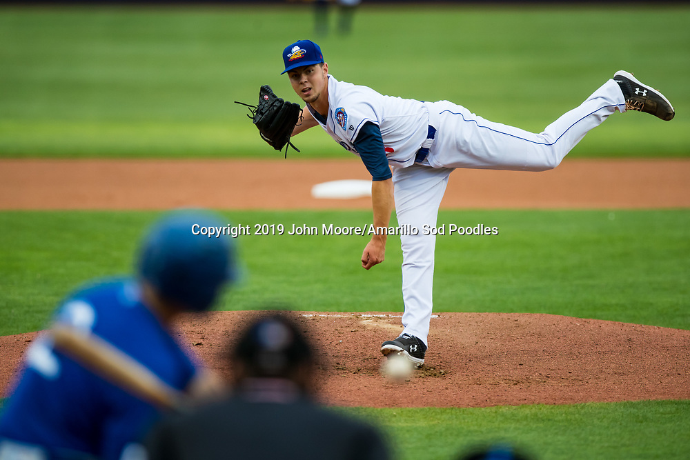 Amarillo Sod Poodles pitcher MacKenzie Gore (13) pitches against the Tulsa Drillers on Tuesday, Aug. 27, 2019, at HODGETOWN in Amarillo, Texas. [Photo by John Moore/Amarillo Sod Poodles]