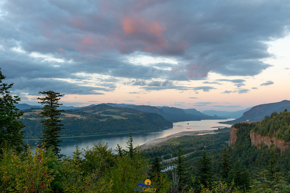 Columbia River Gorge and Vista House view from the Portland Women's Forum State Scenic Viewpoint.