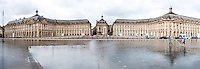 France, Bordeaux. Water mirror in front of Place de la Bourse. Stitched panorama.