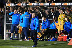 20 February 2017 - The FA Cup - (5th Round) - Sutton United v Arsenal - Sutton United reserve goalkeeper Wayne Shaw (L) looks on the from dugout - Photo: Marc Atkins / Offside.